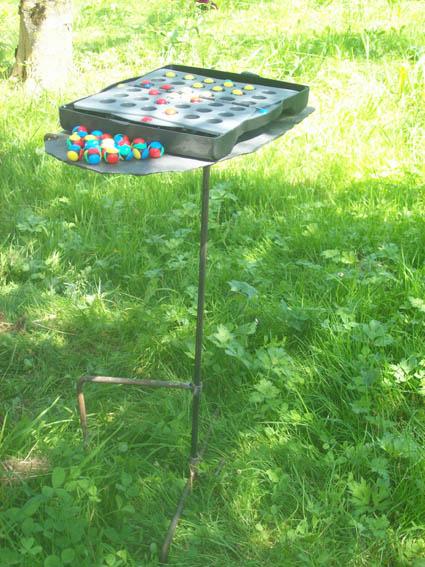 tablette de jardin à planter dans le sol, règlage de la hauteur